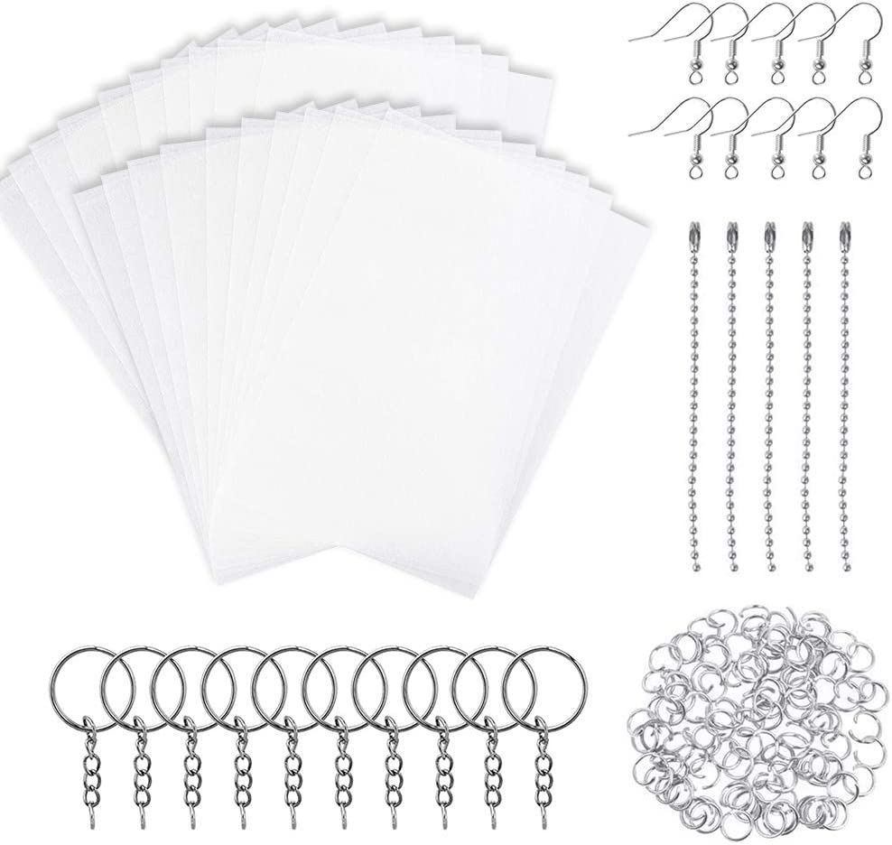 Warckon 137 Pieces Shrink Plastic Sheet Kit Include 12 PCS Shrinky Art Paper with 125 PCS Keychains Accessories for Kids Creative Craft
