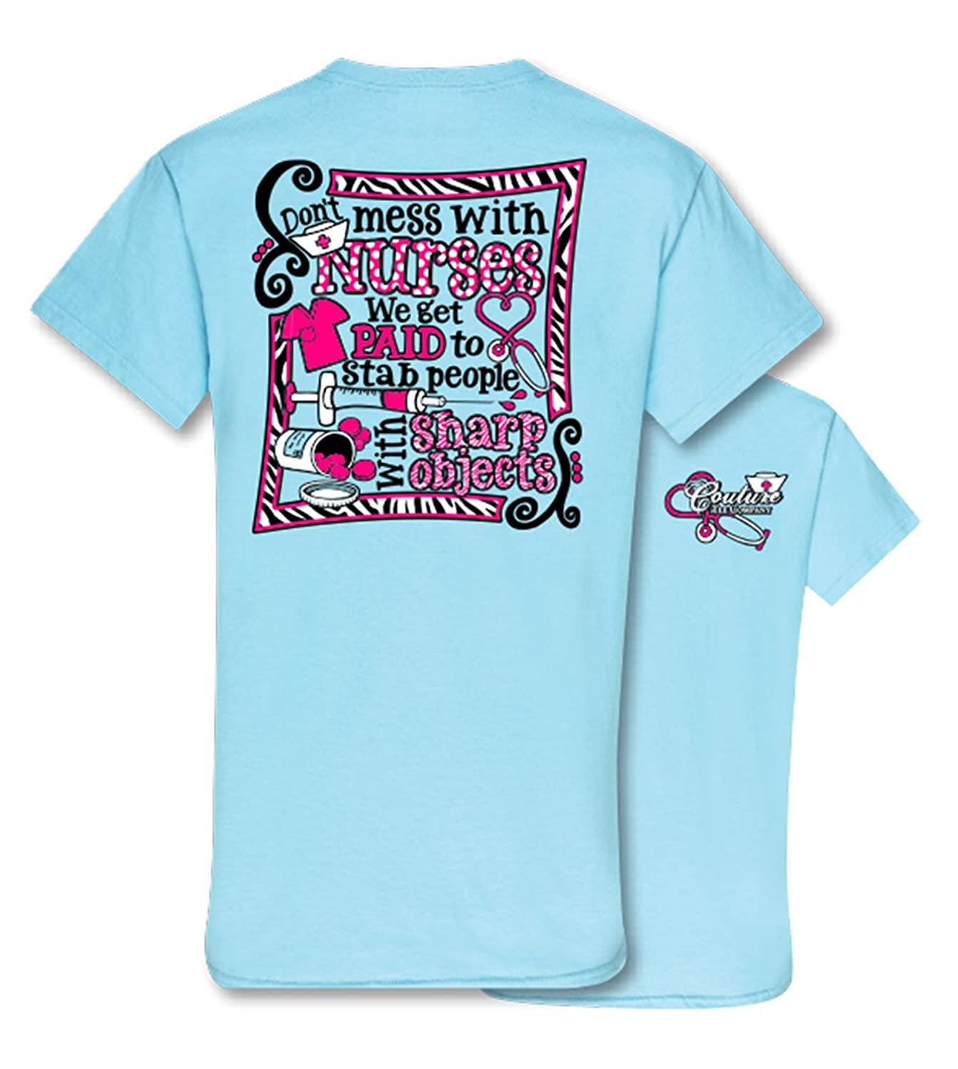 Amazon.com: Couture Tee Company Don\'t Mess with Nurses Womens ...