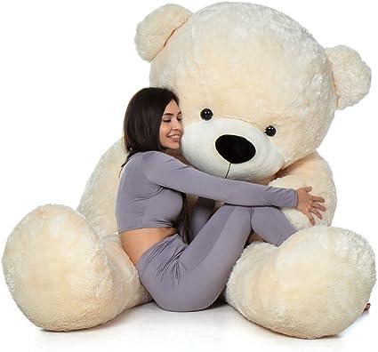 Buttercup Soft Teddy Bear with Neck Bow - 3 Feet (91 cm, Cream)