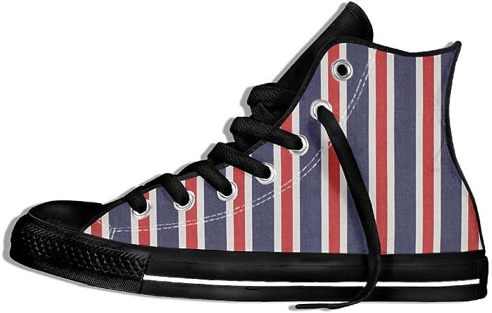 DYWGYSFW67 - Zapatillas de tela de rayas rojas blancas y azules para hombre y mujer: Amazon.es: Hogar