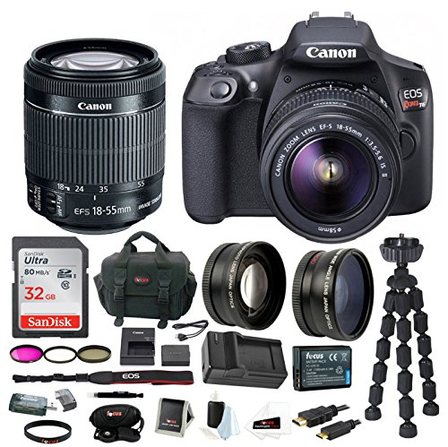 Canon T6 EOS Rebel DSLR Camera w/EF-S 18-55mm IS II Lens & 58mm Wide & Telephoto Lens Bundle