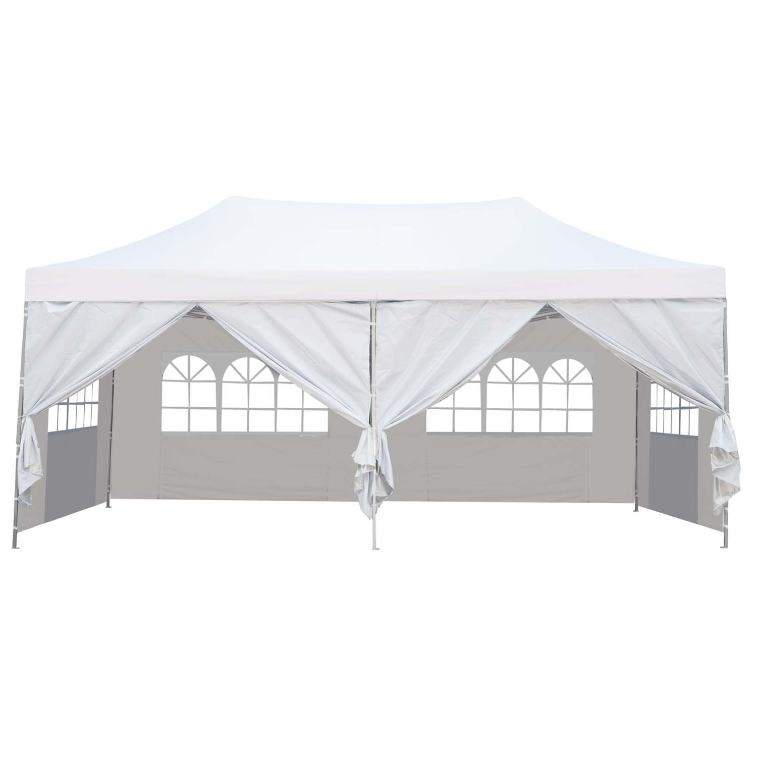 Outdoor Basic 10x20 Ft Pop up Canopy Party Wedding Gazebo Tent Shelter with Removable Side Walls White by Outdoor Basic (Image #2)
