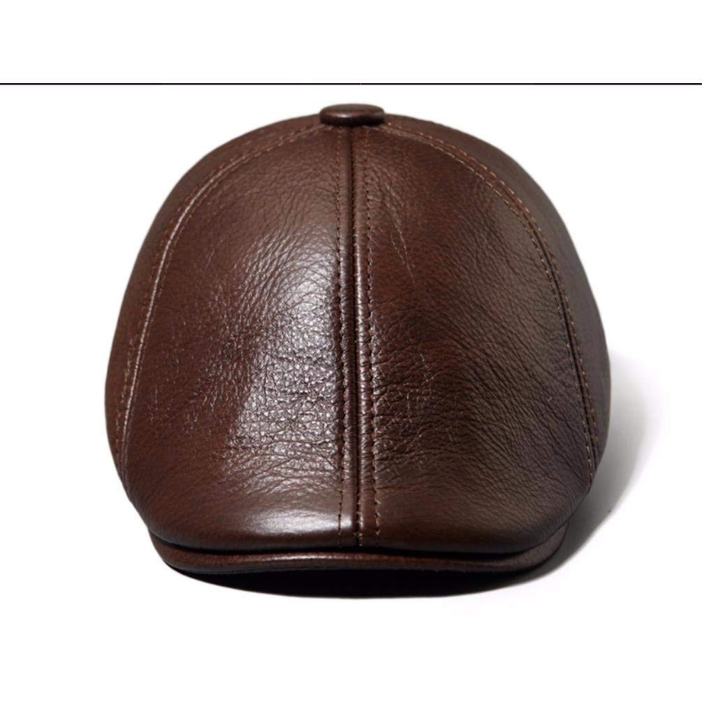 LIUXINDA-PM Mens Spring and Autumn Winter Leather Cap Beret Cap Outdoor Cotton Cap Warm Hat