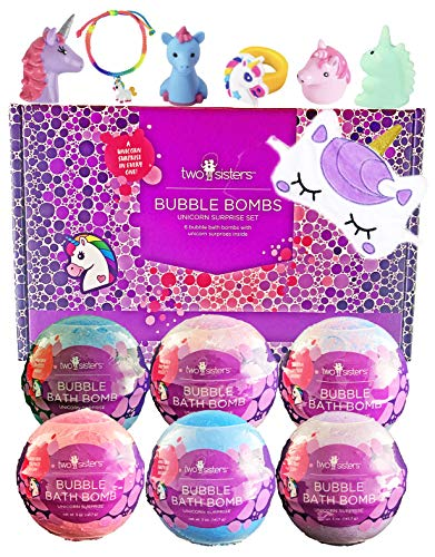 6 Kids Unicorn Bubble Bath Bombs for Girls with Fun Surprise Toys and Jewelry Inside by Two Sisters Spa. XL Large Lush Spa Fizzies Gift Set. 99% Natural. Safe Kid Friendly Ingredients. USA Made. ()