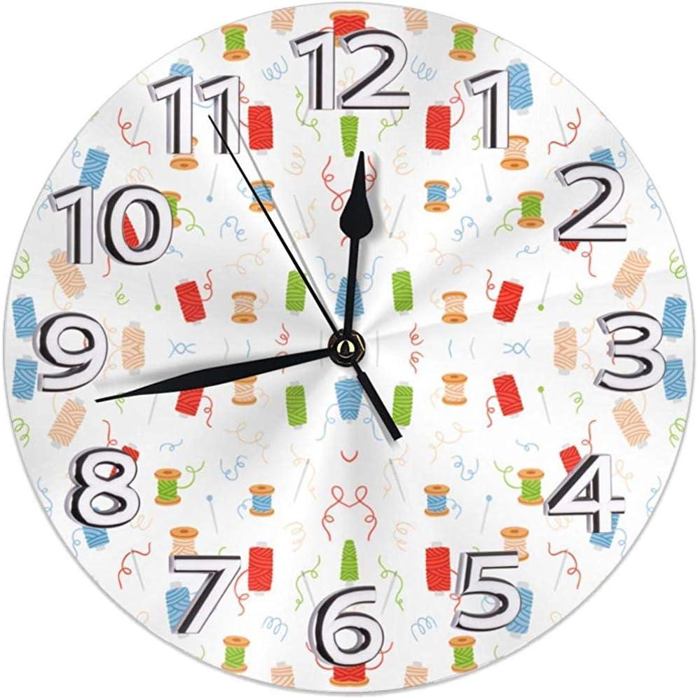 Reloj De Pared Hilo Y Agujas De Coser Patrón Reloj De Pared ...