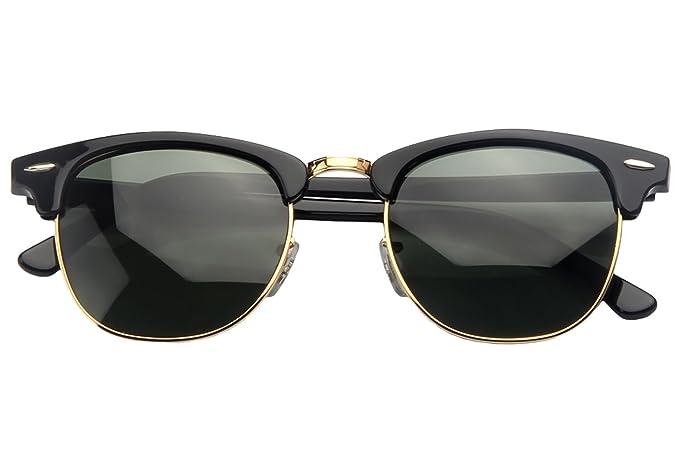 eabebfbd8795 Amazon.com  YuFalling Clubmaster Sunglasses for Men and Women (black ...