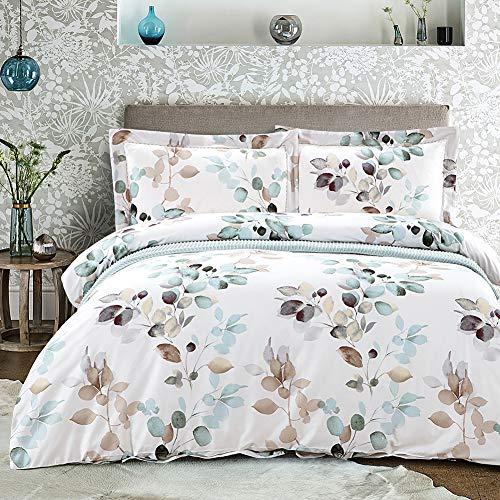 MILDLY 3pc Duvet Cover Set King Queen Cotton Soft Bedding Collection with Hidden Zipper& Corner Ties Flat Bed Sheets Sets, Able, Queen