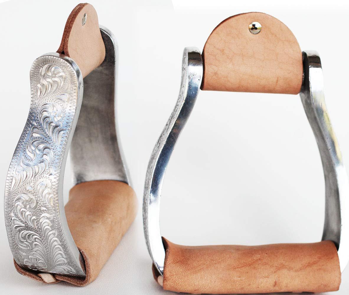 チャレンジャー ホース サドルウェスター 軽量彫刻 アルミ製 スターラップス レザートレッド 51RT02   B07GRFQRZ8