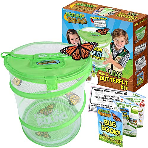 (Nature Bound Butterfly Growing Habitat Kit - with Voucher to Redeem Live Caterpillars for Home or School Use - Green Pop-Up Cage 12-Inches Tall)