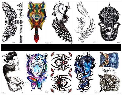 Grashine 10pcs tattoo spider fake tattoos that look real in a packages,including wolf,mermaid,tiger,butterfly,dragonfly,totem,bird,spider,cobra,owl,etc. -