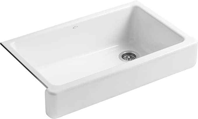 KOHLER K-6488-0 Whitehaven Self-Trimming Apron Front Single Basin Sink with Short Apron, White