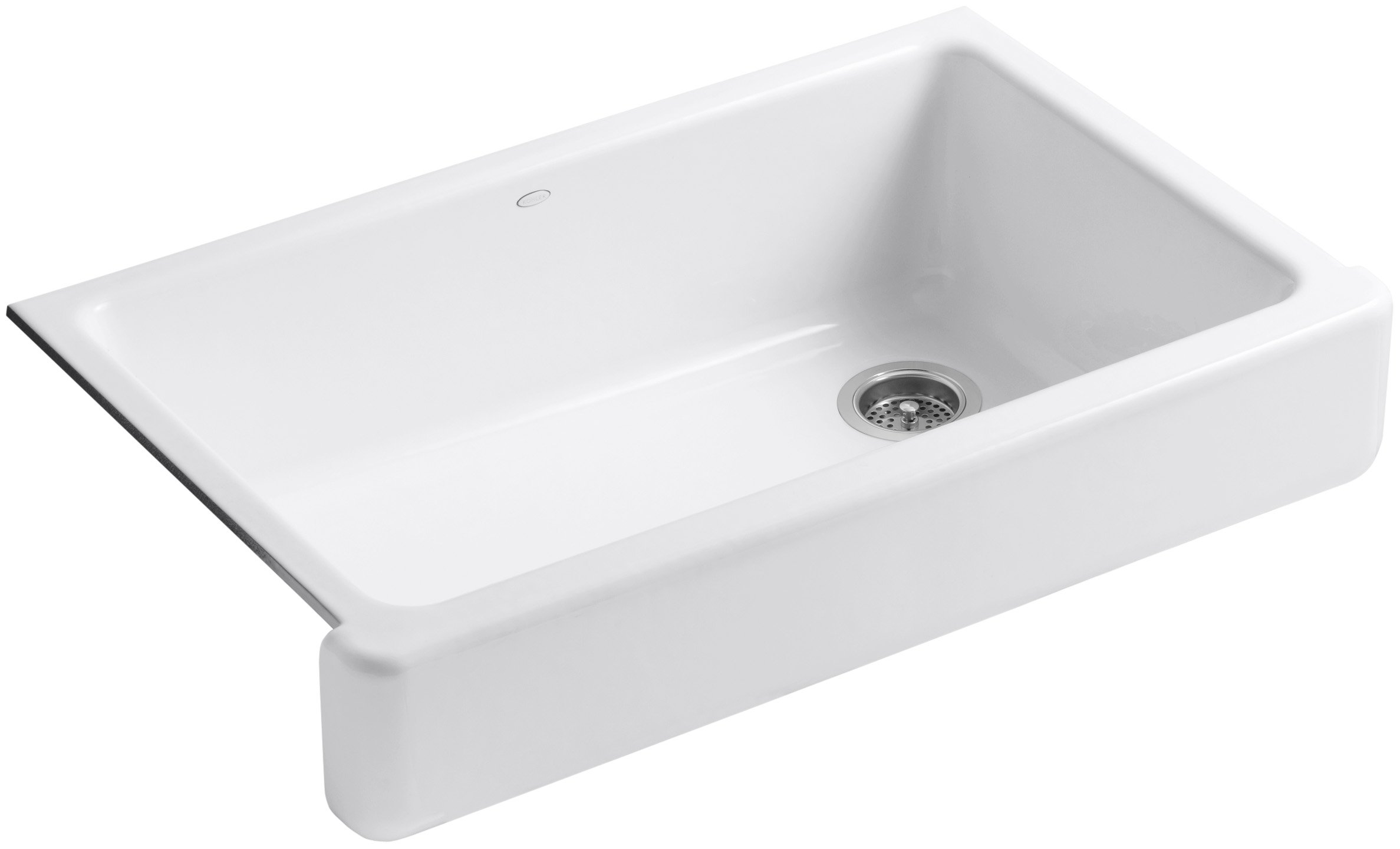 KOHLER K-6488-0 Whitehaven Self-Trimming Apron Front Single Basin Sink with Short Apron, White by Kohler