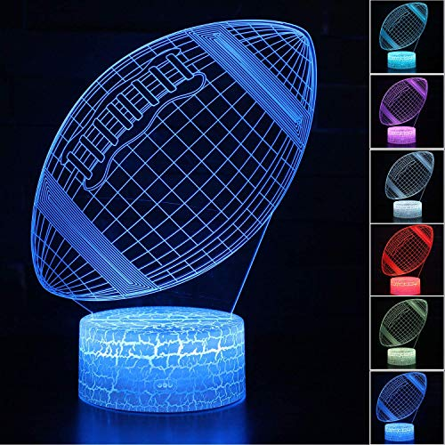 Palawell Football 3D Night Light - 3D Illusion Lamp for Boys 16 Changing Color Remote Control Football Kids Room Decor Lighting - with Charger ()
