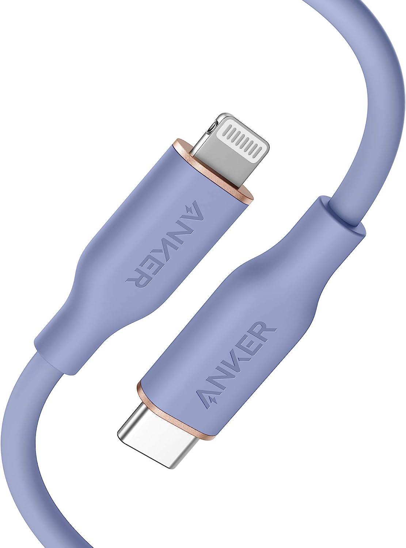 Anker PowerLine Ⅲ Flow USB-C & ライトニング ケーブル MFi認証 PD対応 シリカゲル素材採用 iPhone 12 / 12 Pro / 12 Pro Max/AirPods Pro 各種対応 (0.9m ラベンダーグレイ)