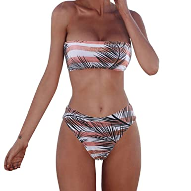 9742a4b1e7b Amazon.com  XUNYU Women Bikini Set Bandeau Strapless Swimsuits Two Pieces  Solid Bathing Suit Beach Wear  Clothing