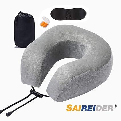 Amazon.com: SAIREIDER Almohada de viaje 100% espuma ...