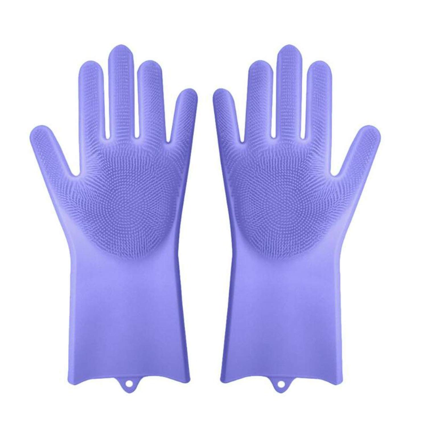 1 Pair Magic Silicone Scrubber Rubber Cleaning Gloves Dusting Dish Washing Pet Care Grooming Hair Car Insulated Kitchen Helper,Purple