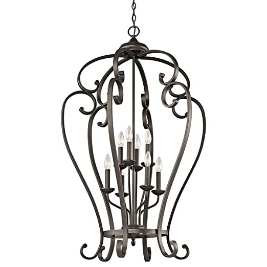 Amazon.com: Colgantes 8 lámparas con acabado de bronce ...