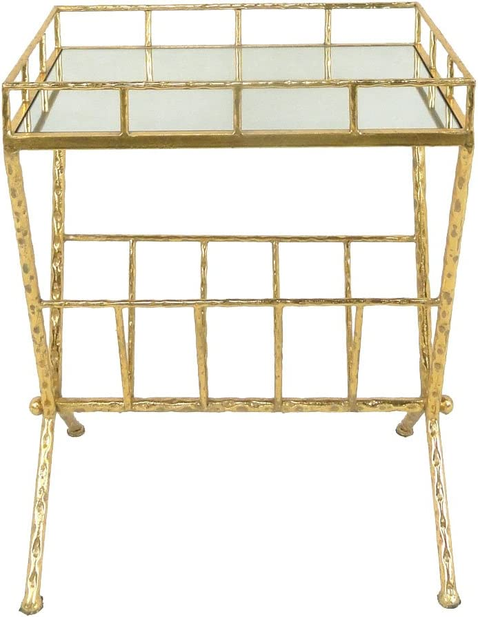 Sagebrook Home Metal Glass Magazine Rack Accent Table, Gold Metal Mirror Mdf, 18 x 12 x 23.25 Inches