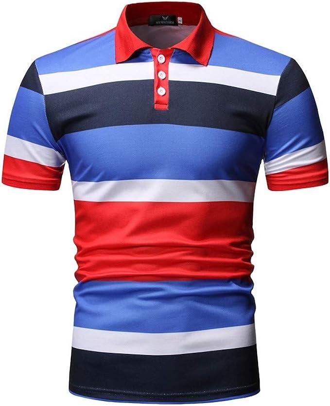 HucodeVan Hombre Polo Manga Corta Raya Camisas Estampadas ...