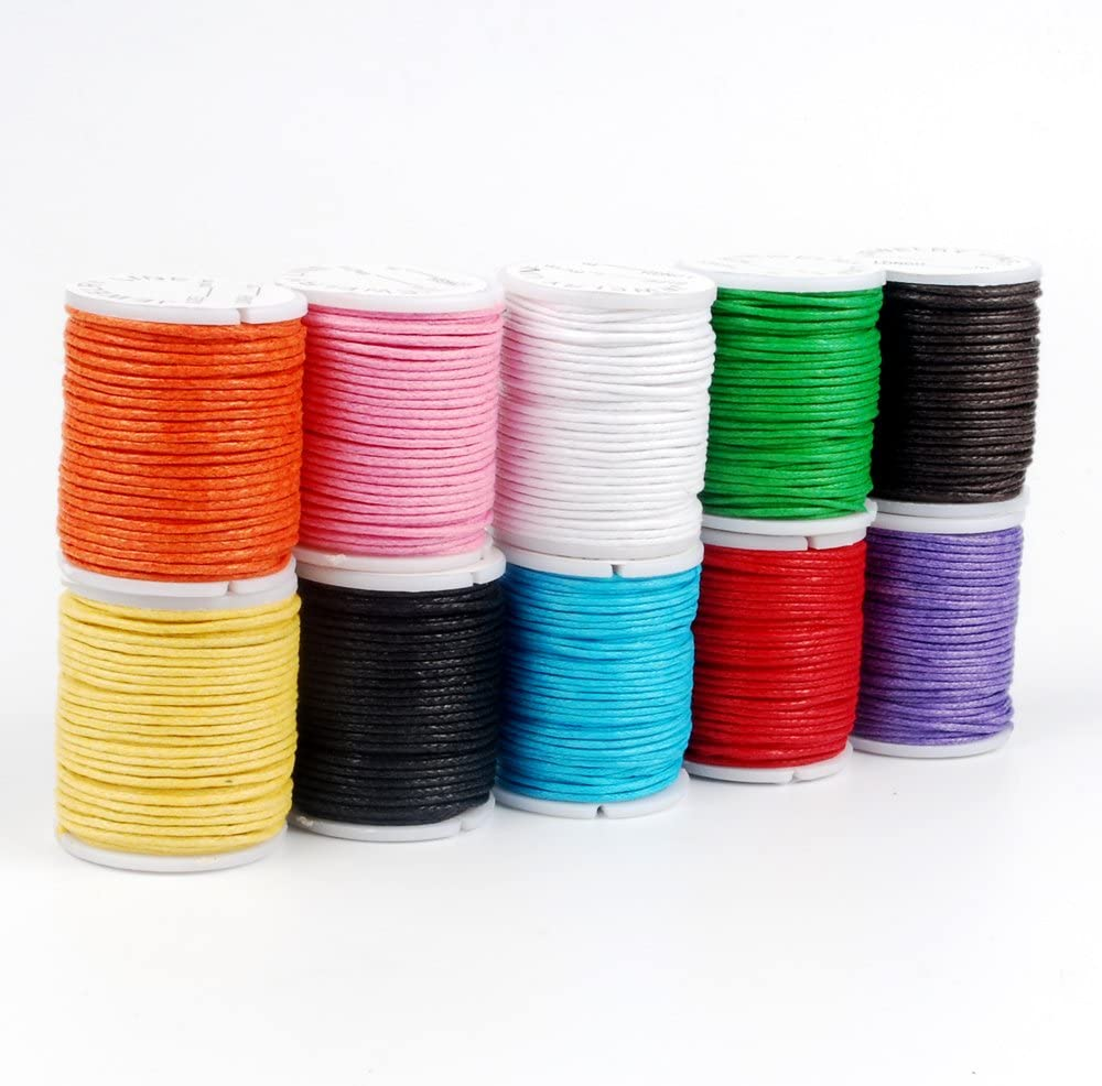 Waxed Cotton Cord 12 Mixed Colours 1mm Width 3 Mix Colour 12 Metre Bundles or Buy All 36 Colours