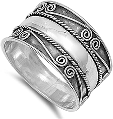 Sterling Silver Women/'s Bali Rope Ring Wide 925 Band Braided Fashion Sizes 6-12