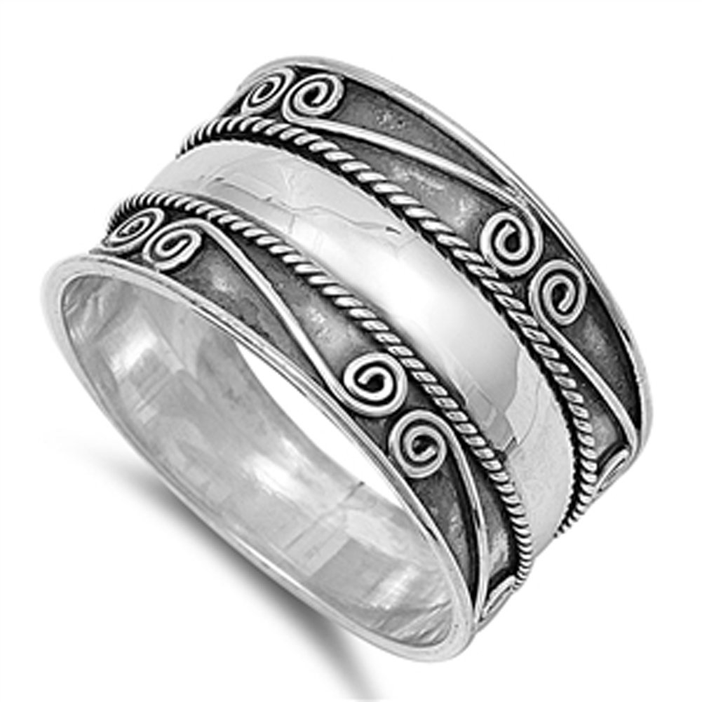 Bali Swirl Braided Rope Wide Thumb Ring New .925 Sterling Silver Band Size 12