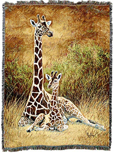 Pure Country Weavers | Mother and Son Giraffe Woven Tapestry Throw Blanket with Fringe Cotton USA 72x54