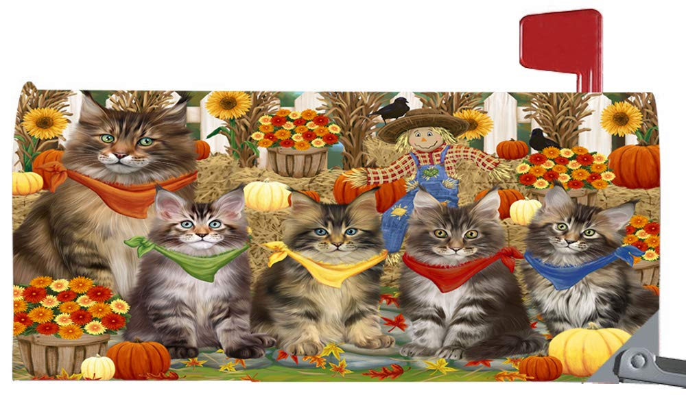 Magnetic Mailbox Cover Harvest Time Festival Day Maine Coon Cats MBC48054