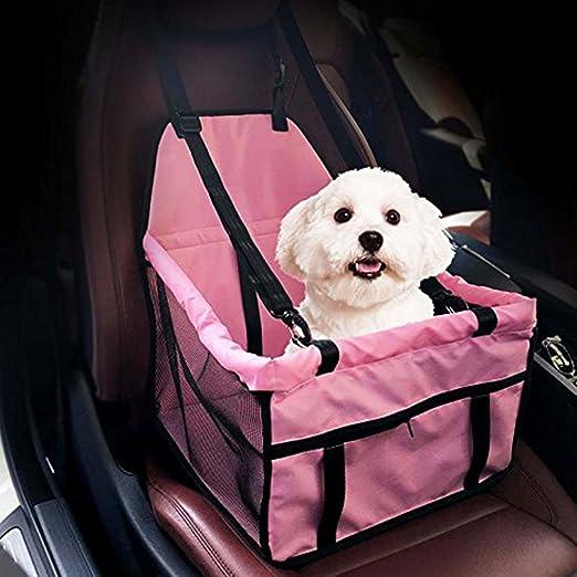 Henweit Asiento Elevador de Seguridad para Coche, Bolsa de Viaje, Alfombrilla para Jaula, Cojín con Arnés de Cinturón de Seguridad para Mascotas, Perros, Cachorros, Gatos, Color Rosa: Amazon.es: Hogar