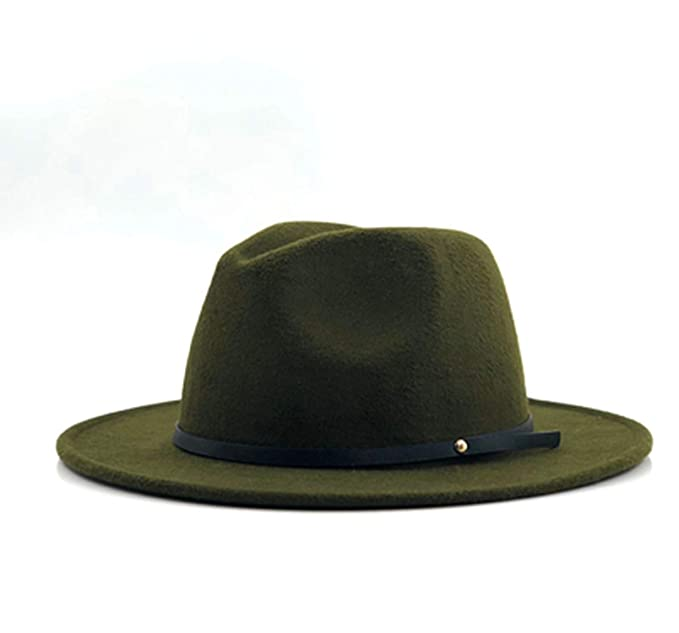 cd77d3196c229 Women Men Wool Vintage Gangster Felt Fedora Hat with Wide Brim ...
