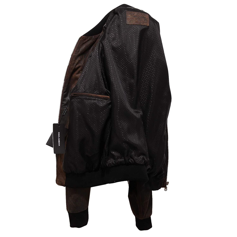 Dolce & Gabbana 7349X Giubbotto uomo Bomber Leather Jacket Man [52]: Amazon.es: Ropa y accesorios