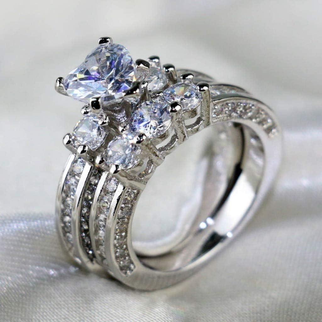 Womens Fashion Diamond Wedding Ring Cnebo Elegant Heart Diamond CZ Zircon Ring,Couple Men Women Engagement Ring Jewelry Valentines Gift