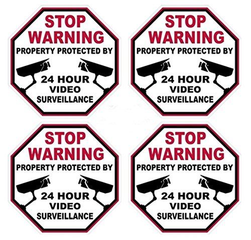 4 Pcs Preeminent Popular Video Surveillance Sticker Signs 24Hr Warning Business Defense Anti-Thief Size 3