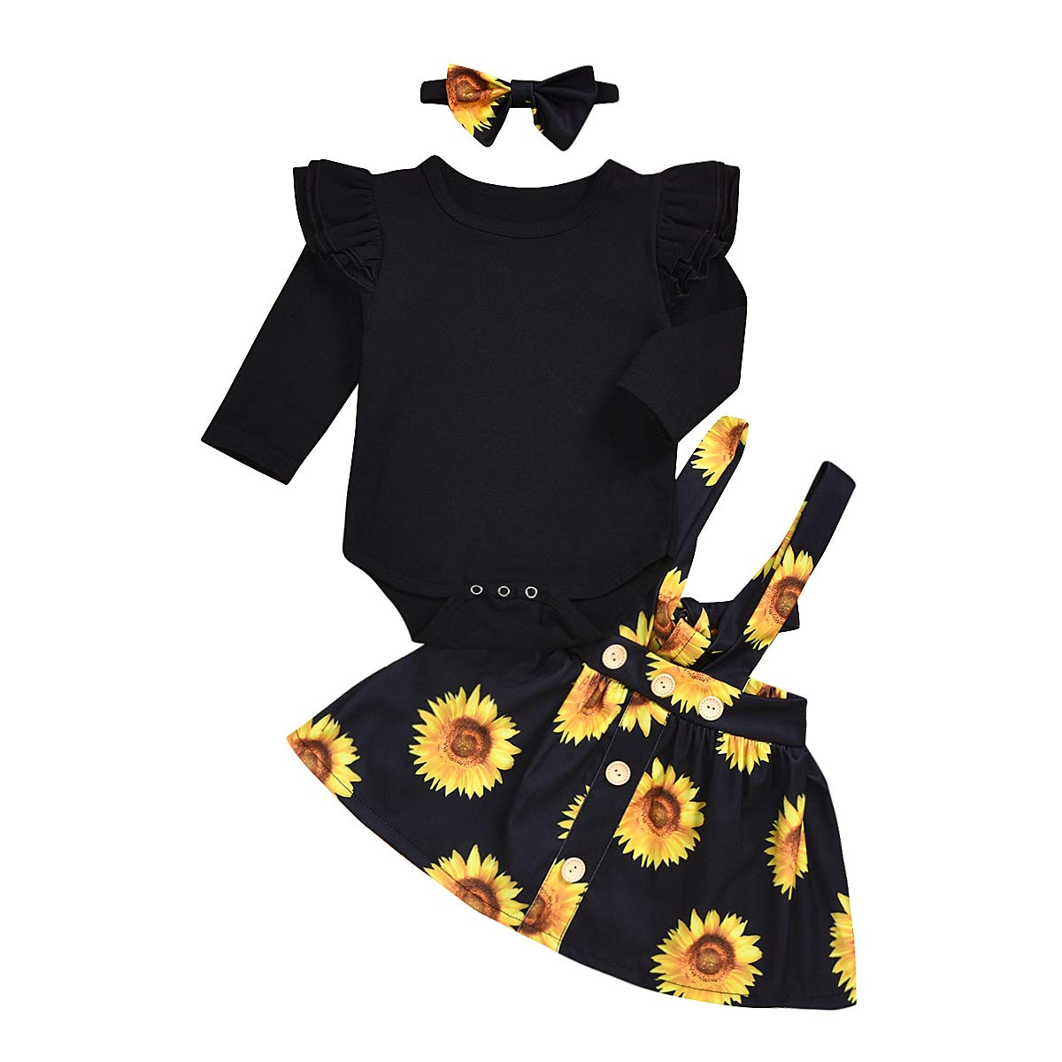 Menglo Newborn Baby Girls Sunflower Outfit Ruffle Long Sleeve Romper Tops+Suspender Skirt+Headband 3PCS Infant Clothing Set