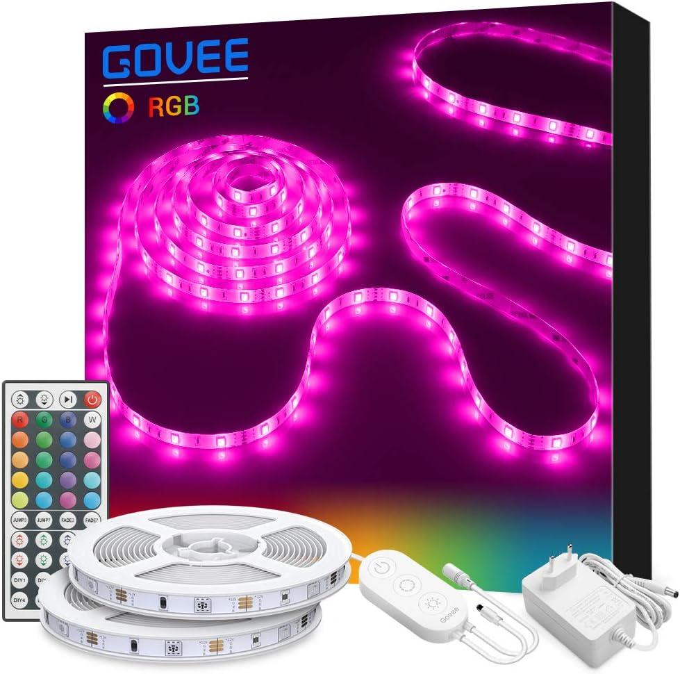 Tiras LED 10M, Govee Tira LED RGB con Control Remoto de 44 Botones y Caja de Control, 20 Colores, 8 Modos de Brillo y 6 opciones DIY para la Habitación, 300 RGB 5050 SMD LEDs, 12V 3A, 2x5M