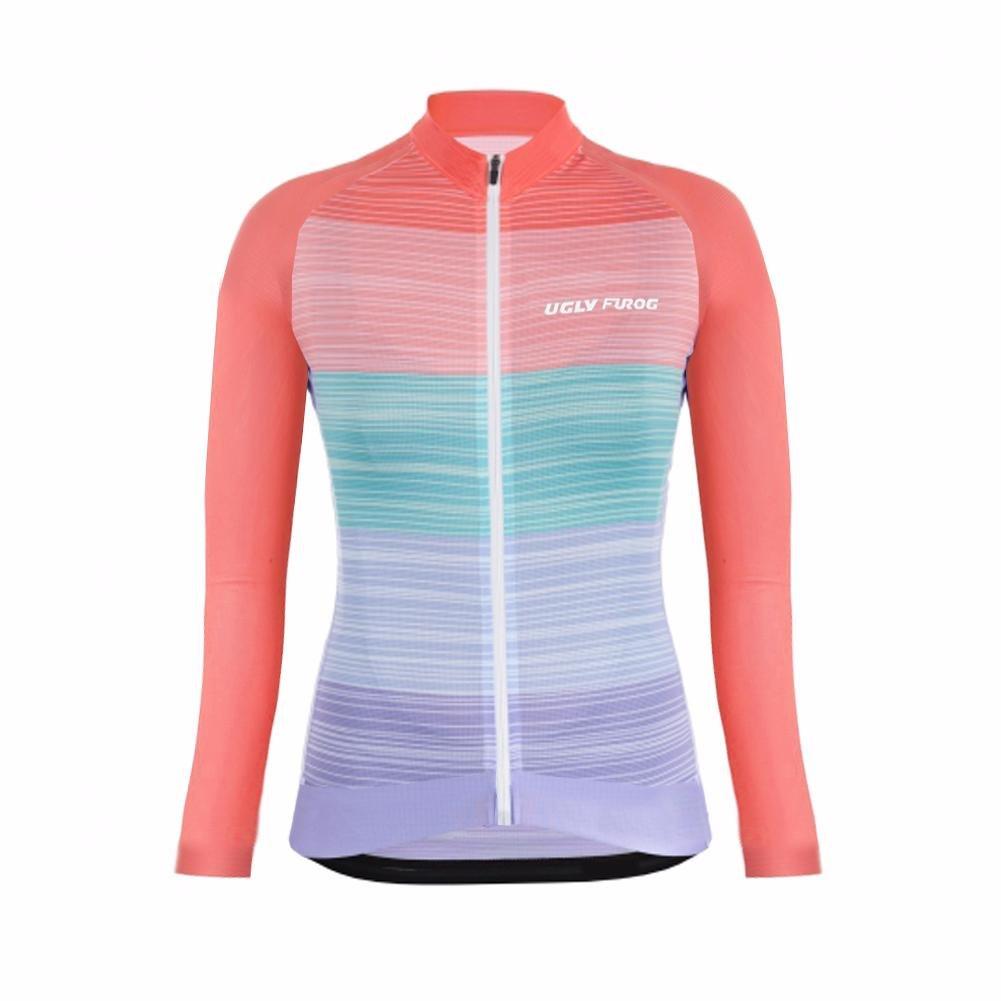 Uglyfrog 2018-2019 Damen HDWLJ19 Winter with Fleece Lady Radfahren Langarm Radfahren Trikots eine Menge Farben Antislip /Ärmel Road Bike MTB Top Riding Shirt