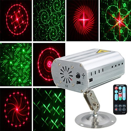JIGUOOR Laser Lights 100-240v portable mini bar LED RGB Stage Light Projector light with Wireless Remote Control, English manual Laser Stage Lights for decor DJ Lighting Disco Party,Clubs,Bars,Val -