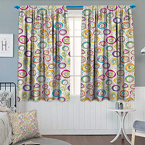 Chaneyhouse Abstract Blackout Window Curtain Pattern with Circles and Dots Bubble Rings Spotted Springtime Enjoyment Theme Customized Curtains 72
