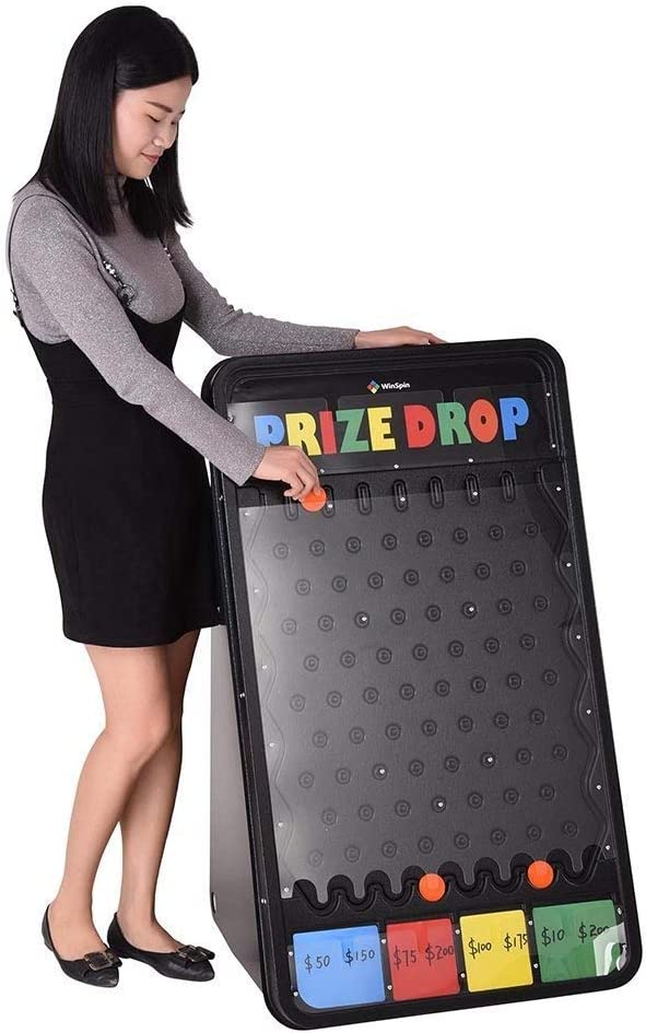 WinSpin 41x25 Large Prize Drop Board Game and 24 Tabletop Spinning Prize Wheel Bundle