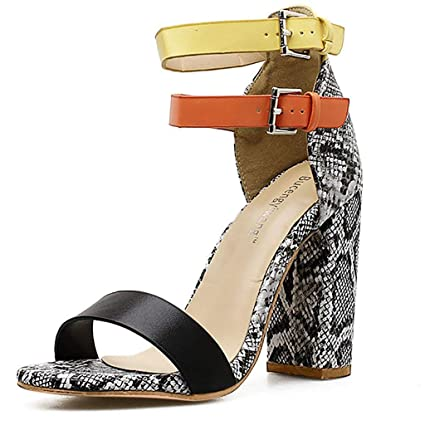 5cfa83d1e648 Women's Ladies Snake-Print Mixed Colors High Heels Buckle Sandals Casual  Shoes (⭐️