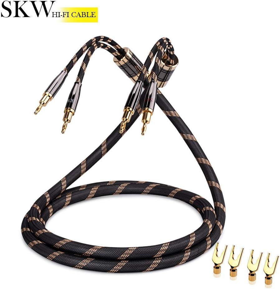 1.5M Nero 1PCS//Set Cavo Qualit/à Hi-Fi SKW Audiofilo Cavo per altoparlanti con connettori a banana placcati in oro Treccia in Nylon