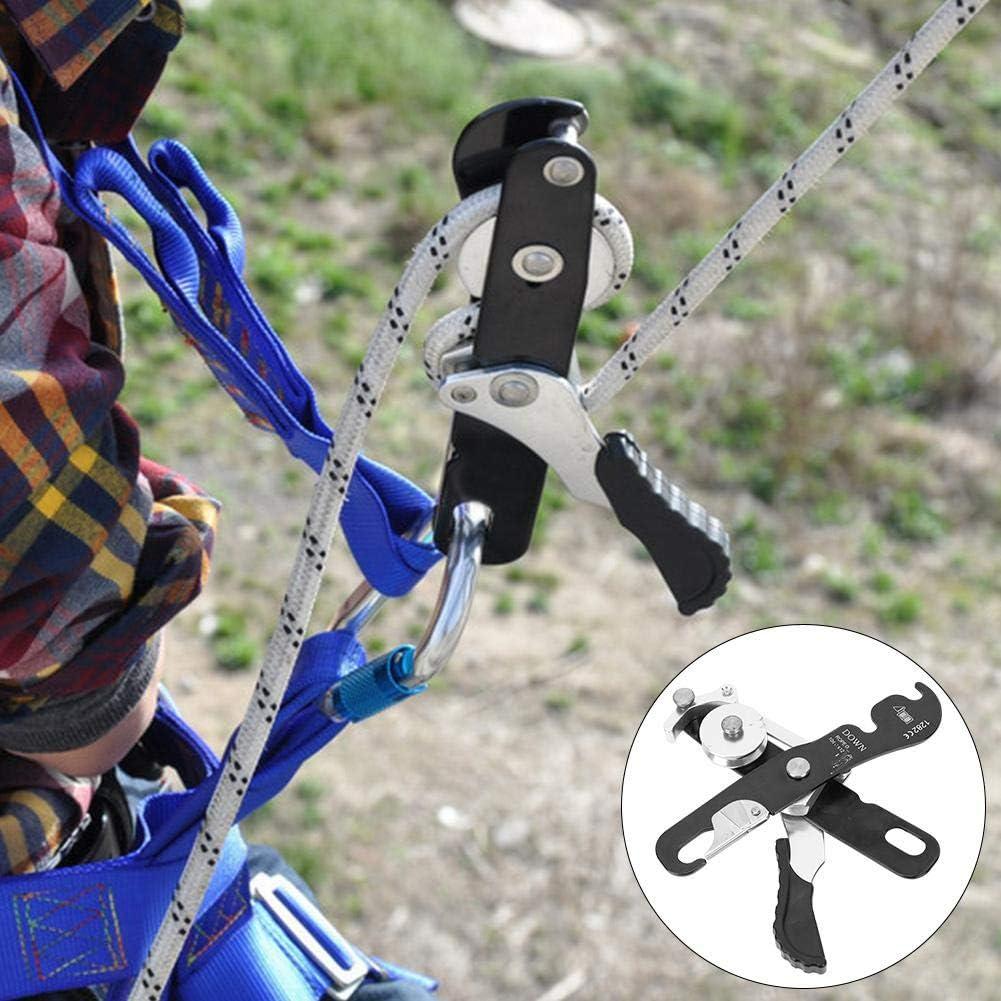 Escalada Descender Frenado Automático Engranaje Autobloqueante Doble Rappelling Belay para Cuerdas 10-12mm