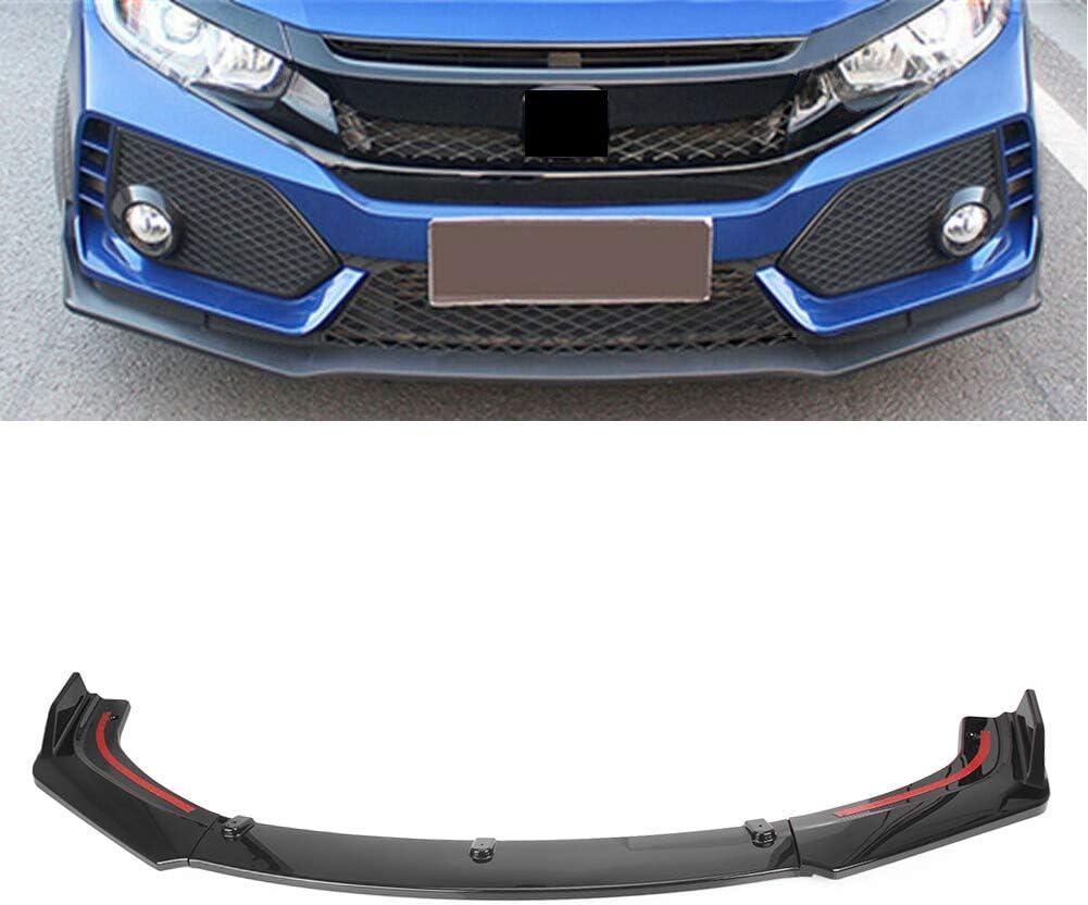 Newsmarts Front Bumper Lip Body Kit Spoiler Splitter Trim Cover Protector Compatible with Honda Civic 2016 2017 2018 2019 Sedan 10th Generation Glossy Black