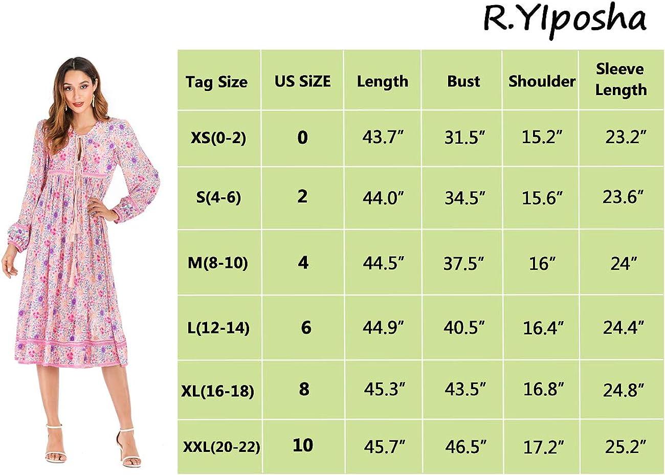 R.YIposha Womens Long Sleeve Floral Print Tassel V Neck Bohemian Loose Midi Dresses