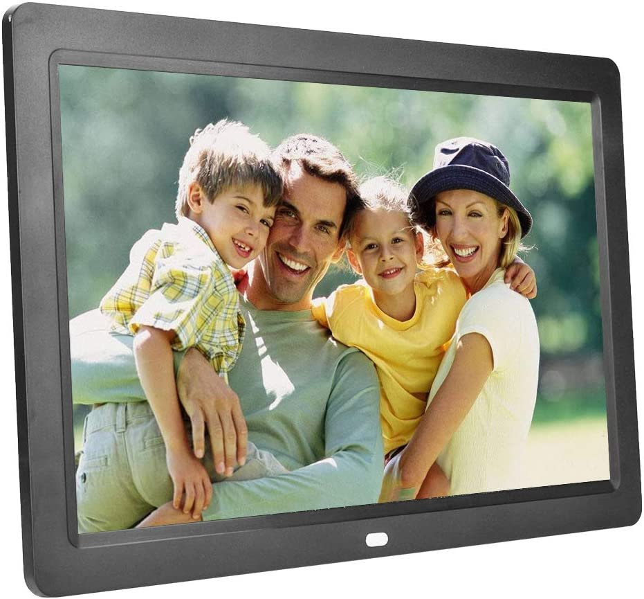 Music Video Images Player Support 32GB SD Card 12 Inch Digital Photo Frame with Remote Control Black 1280x800 HD LED Display Electronic Photo Frame with Alarm Calendar Automatic On//Off