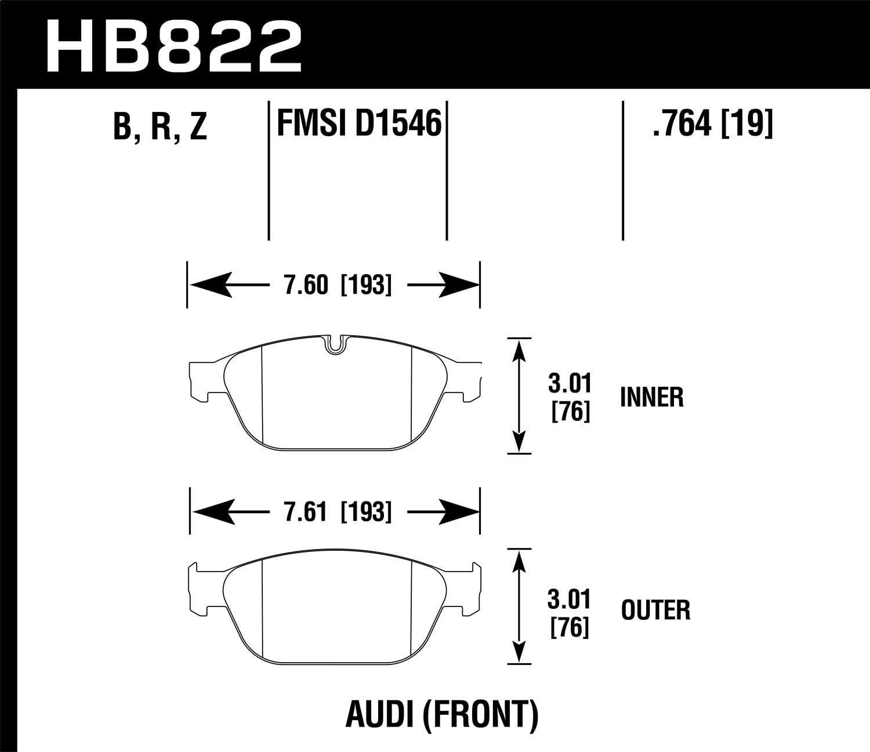 Hawk Performance HB822R.764 Brake Pad