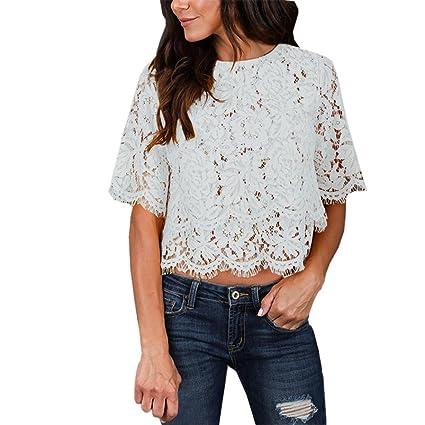 5293ed9722e Amazon.com   Fullfun Women Summer Short Sleeve O Neck Double Lace Top T- Shirt (L
