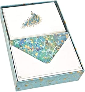 Punch Studio Boxed Peacock Gold Foil Blank Note Cards 61391, 12 ct