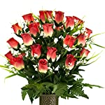Two-Tone-Red-Rose-with-Lily-Grass-Mix-Artificial-Bouquet-featuring-the-Stay-In-The-Vase-Designc-Flower-Holder-MD2066